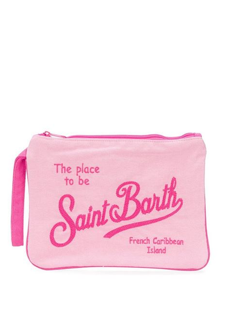 Pink clutch bag with handle Saint barth | PARISIENNEEMB27