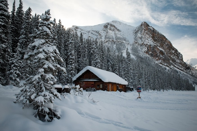 Boat House Covered By Snow Lake Louise