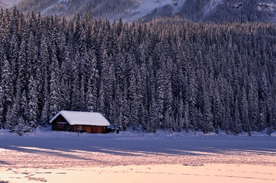 Boat House On Lake Louise In Winter