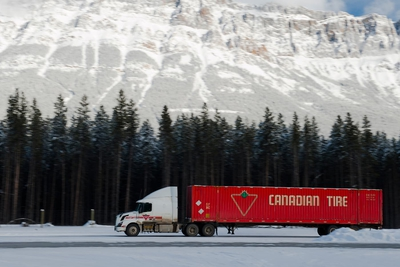 Canadian Tire Truck Driveing In Winter Banff