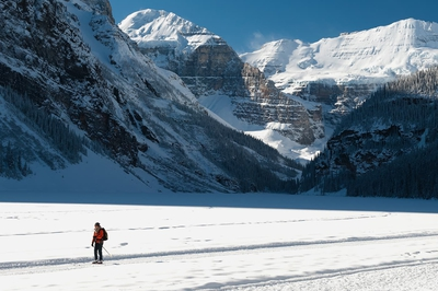 Cross Country Skier On Lake Louise