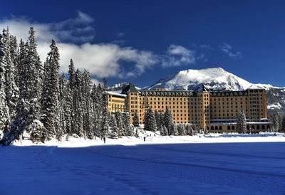 Fairmont Chateau Lake Louise On Winter Sunny Day
