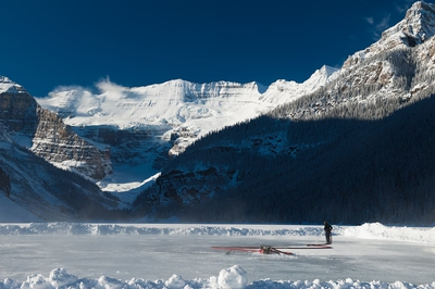 Ice Rink On Lake Louise Winter Banff