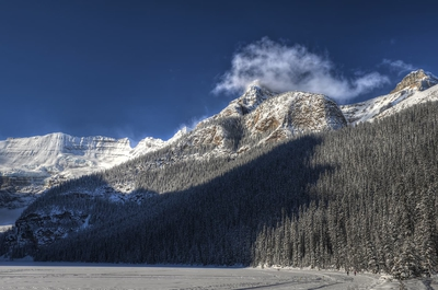 Landscape Lake Louise Sunny Day Winter Banff