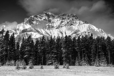 Mountain Landscape In Winter Banff Monochrome