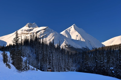 Mountain Top On Sunny Day Winter Banff
