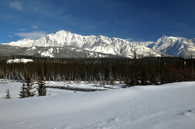 Mountain View Bow Valley Parkway Winter Banff