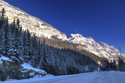 Mountains From Icefields Parkway In Winter