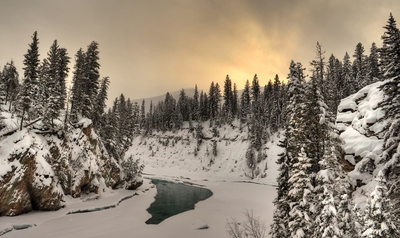 Nipika Mountain Resort River On Sunset