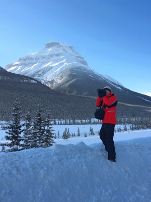 Photographer Taking Picture Winter Banff