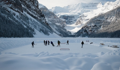 Playing Hockey On Lake Louise Winter Banff
