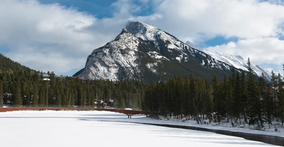 Rundle Mountain City Of Banff In Winter