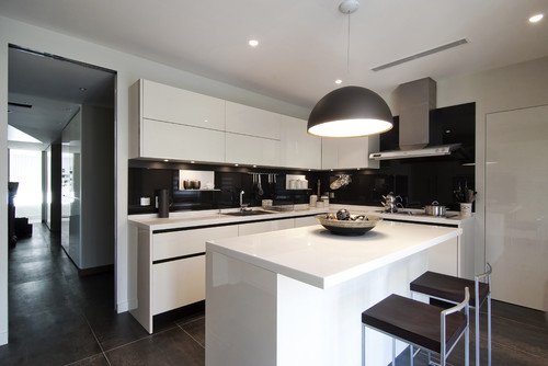 accessorizing a black and white kitchen