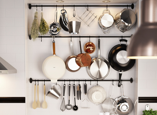 kitchen wall storage rail