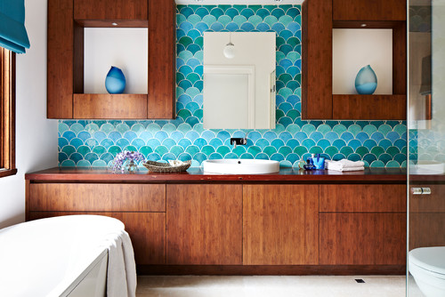 Patterned tiles in small bathroom