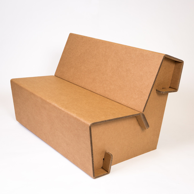 Cardboard Sofa by Zach Rotholz (Chairigami) and Haresh Mehta (Jayna Packaging)