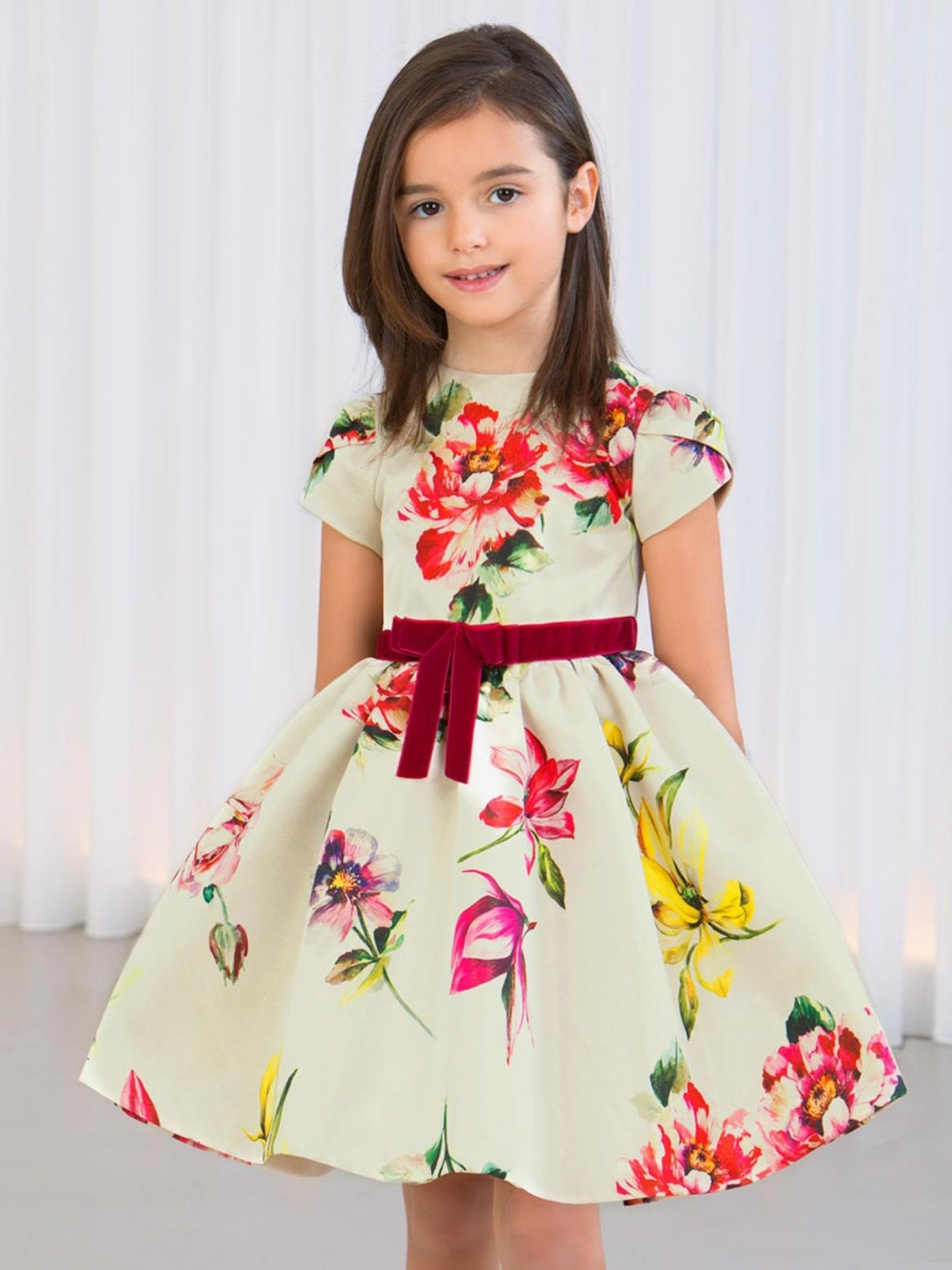 Little Girl Velvet Bow Dress ABEL&LULA | Clothes | 55253