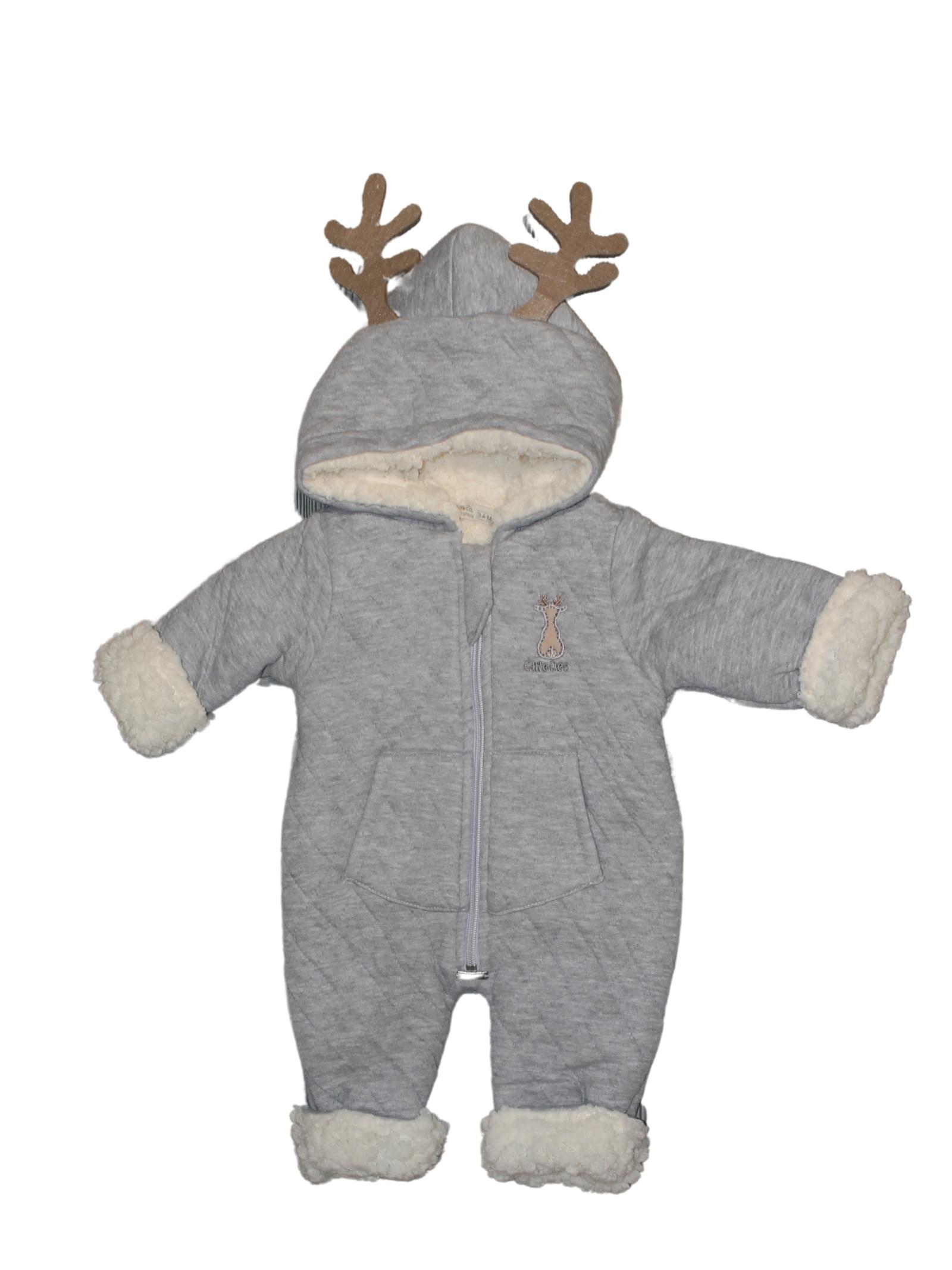 Newborn Reindeer Patterned Jacket BABYDOLA | Jackets | 12096GRIGIO