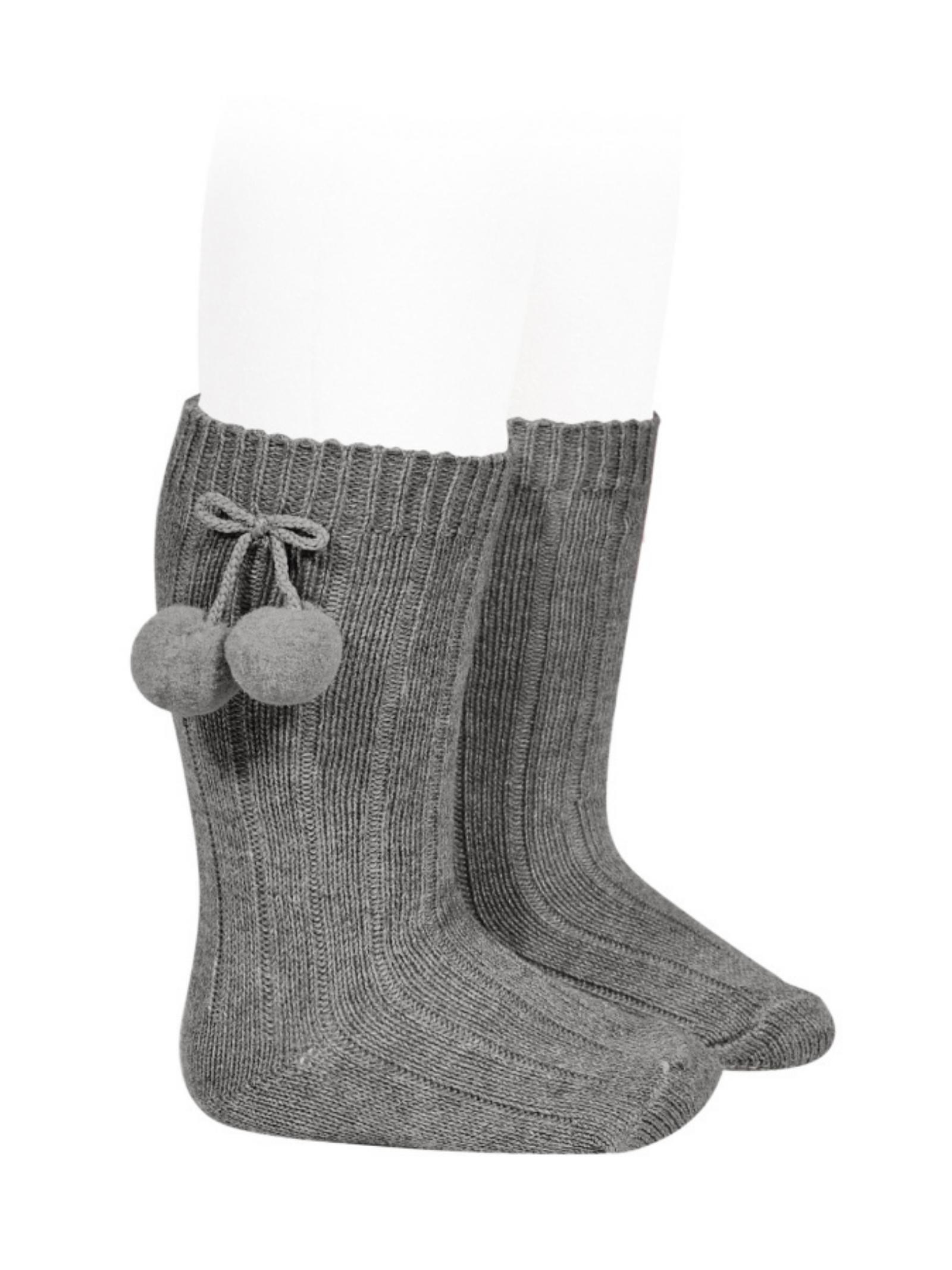 Ribbed Pompon Socks for Girls CONDOR | Socks | 30152230