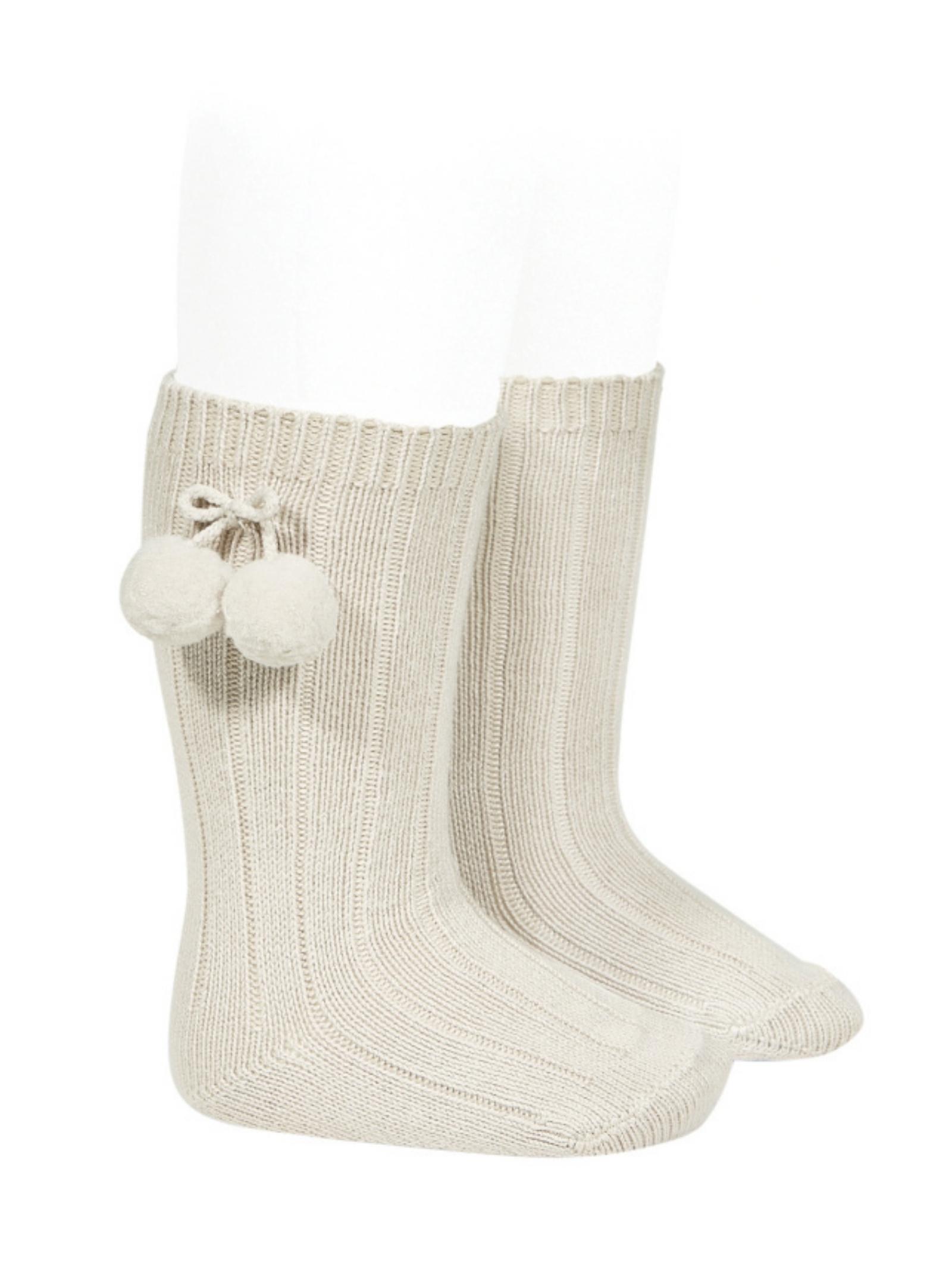 Ribbed Pompon Socks for Girls CONDOR | Socks | 30152304