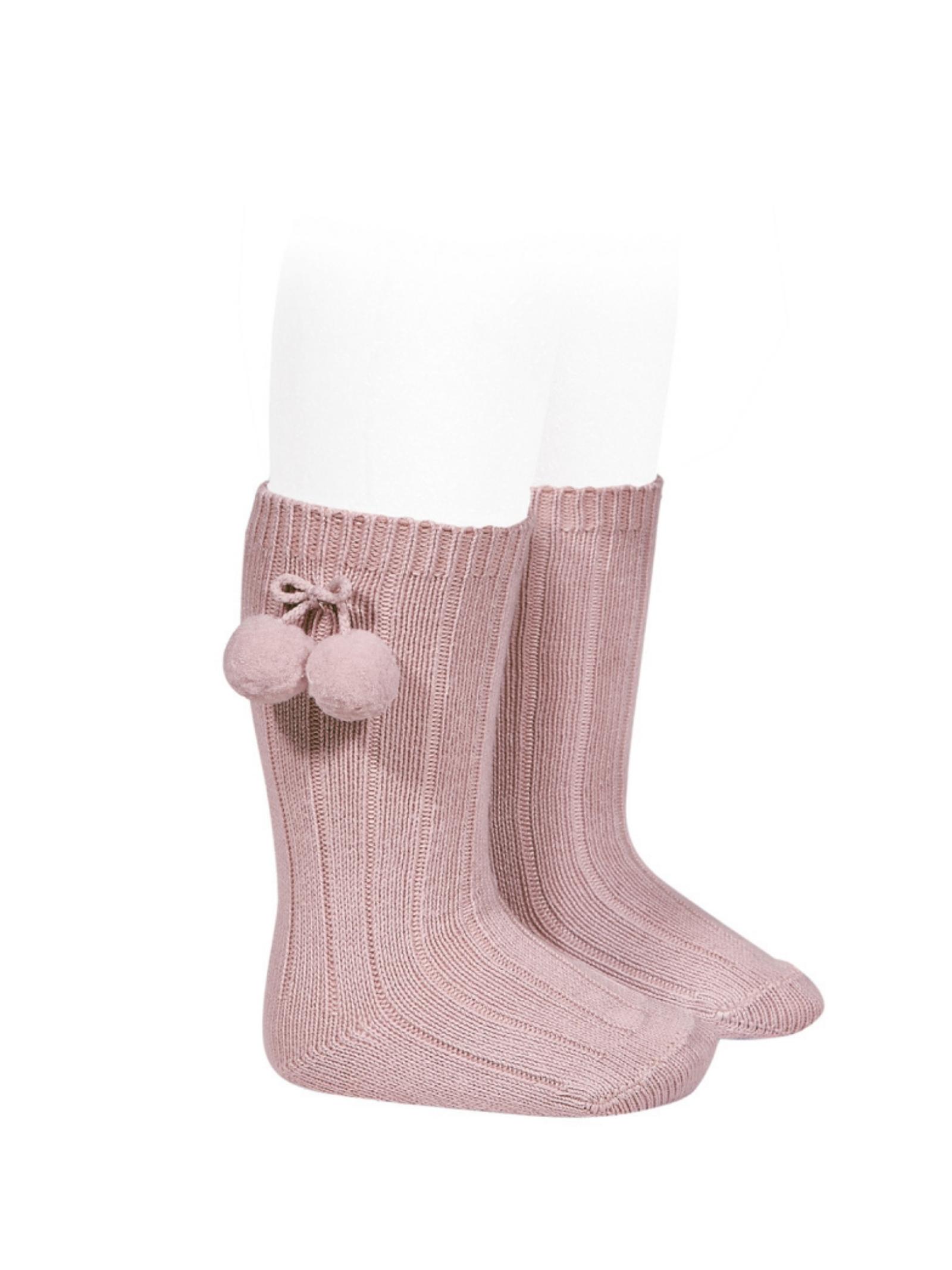 Ribbed Pompon Socks for Girls CONDOR | Socks | 30152526