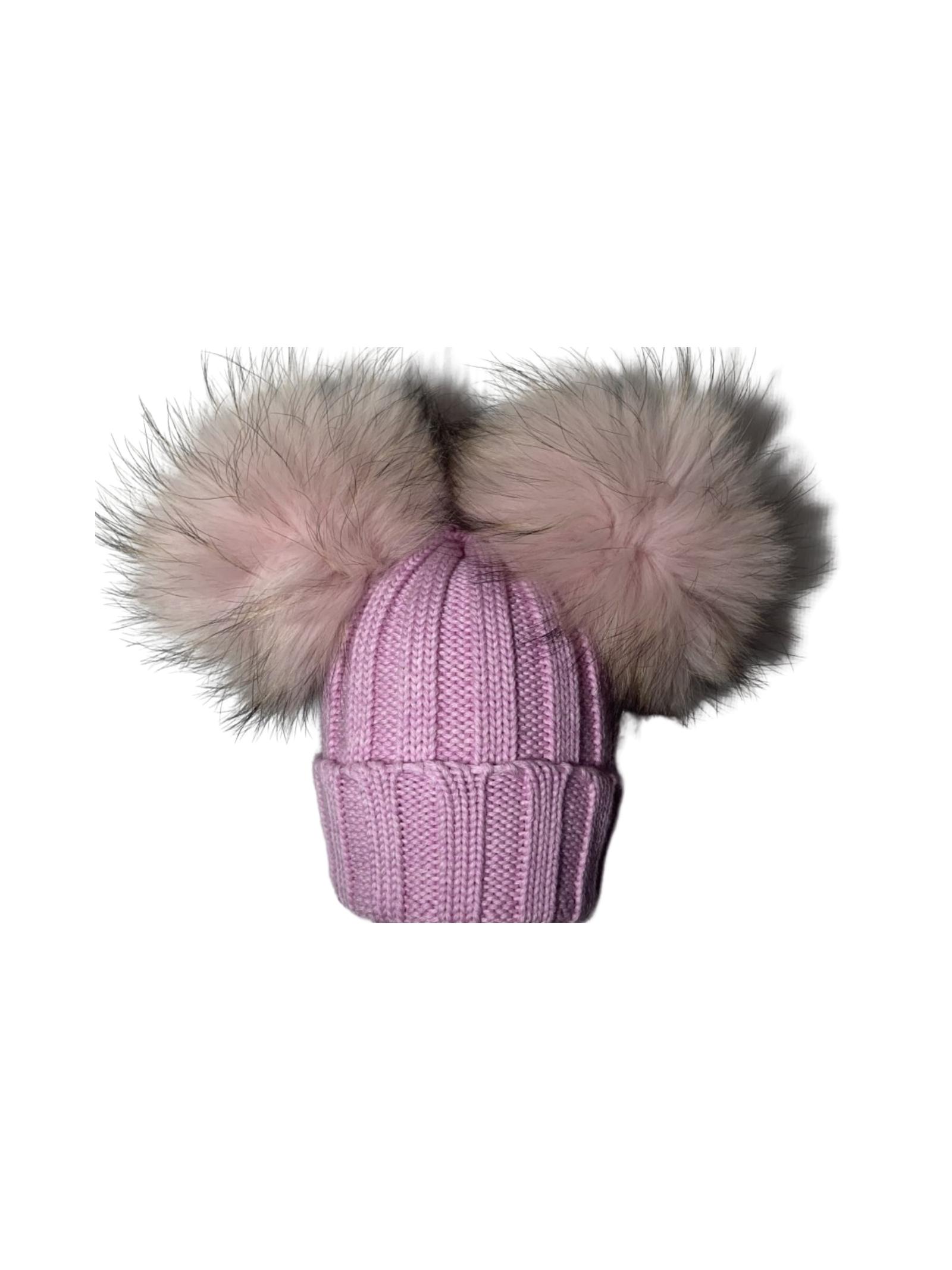Cappello Doppio Pompon Bambina CUFFIE REGINA | Cappelli | 20100BLUSH