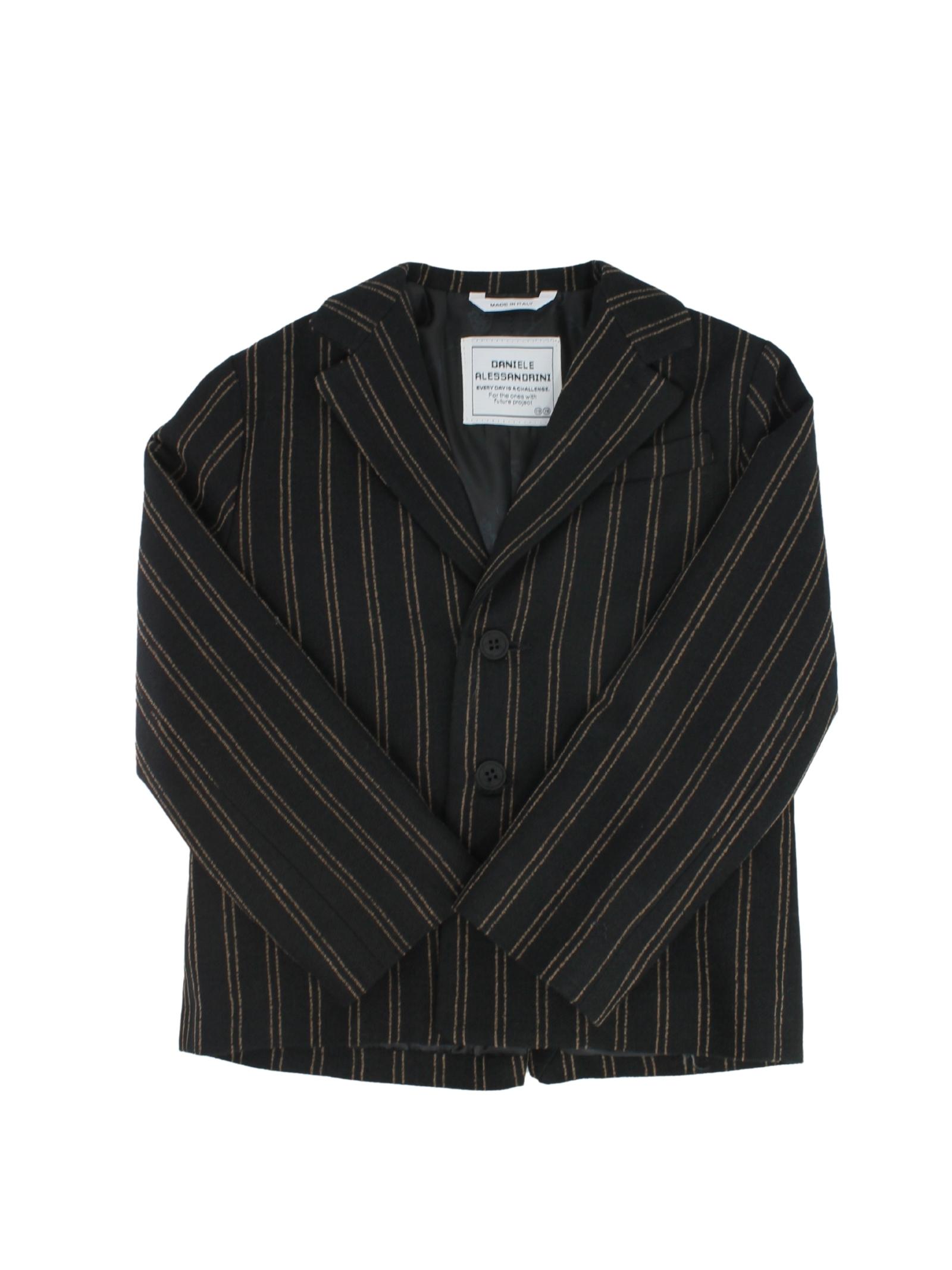 Elegant Striped Baby Jacket DANIELE ALESSANDRINI JUNIOR | Jackets | 1291J0768NERO
