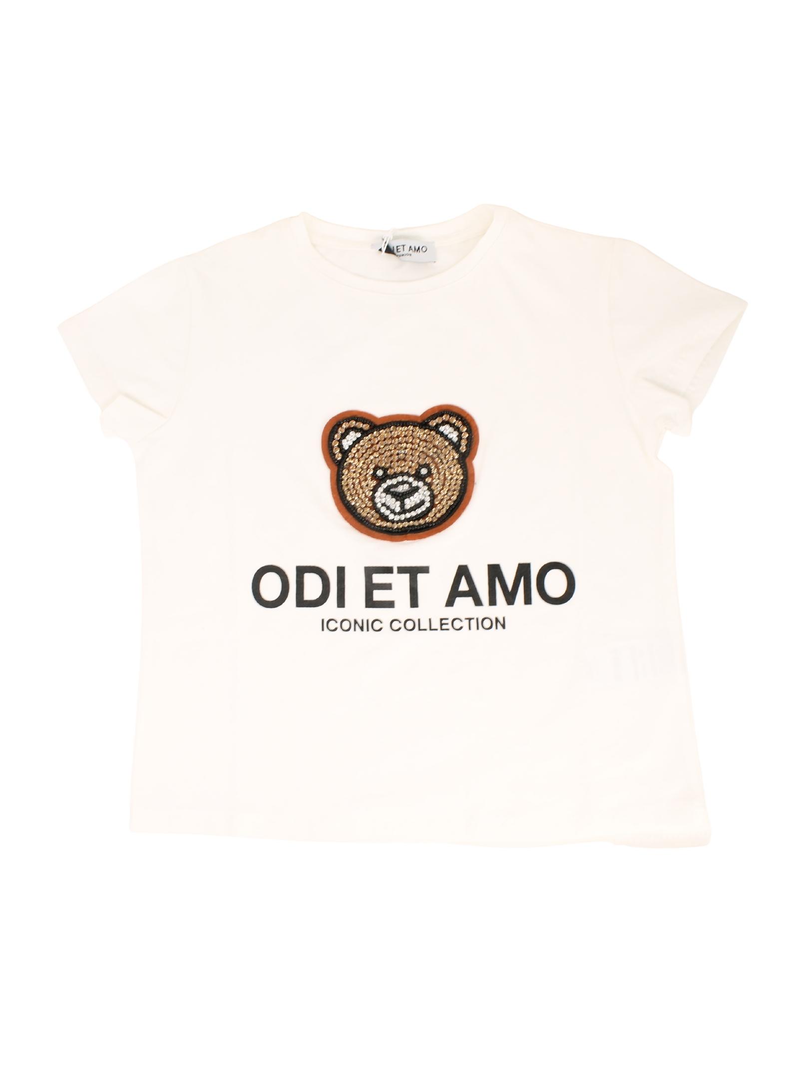 T-shirt White Teddy Bambina ODI ET AMO KIDS | T-shirt | ODJTS9790WHM