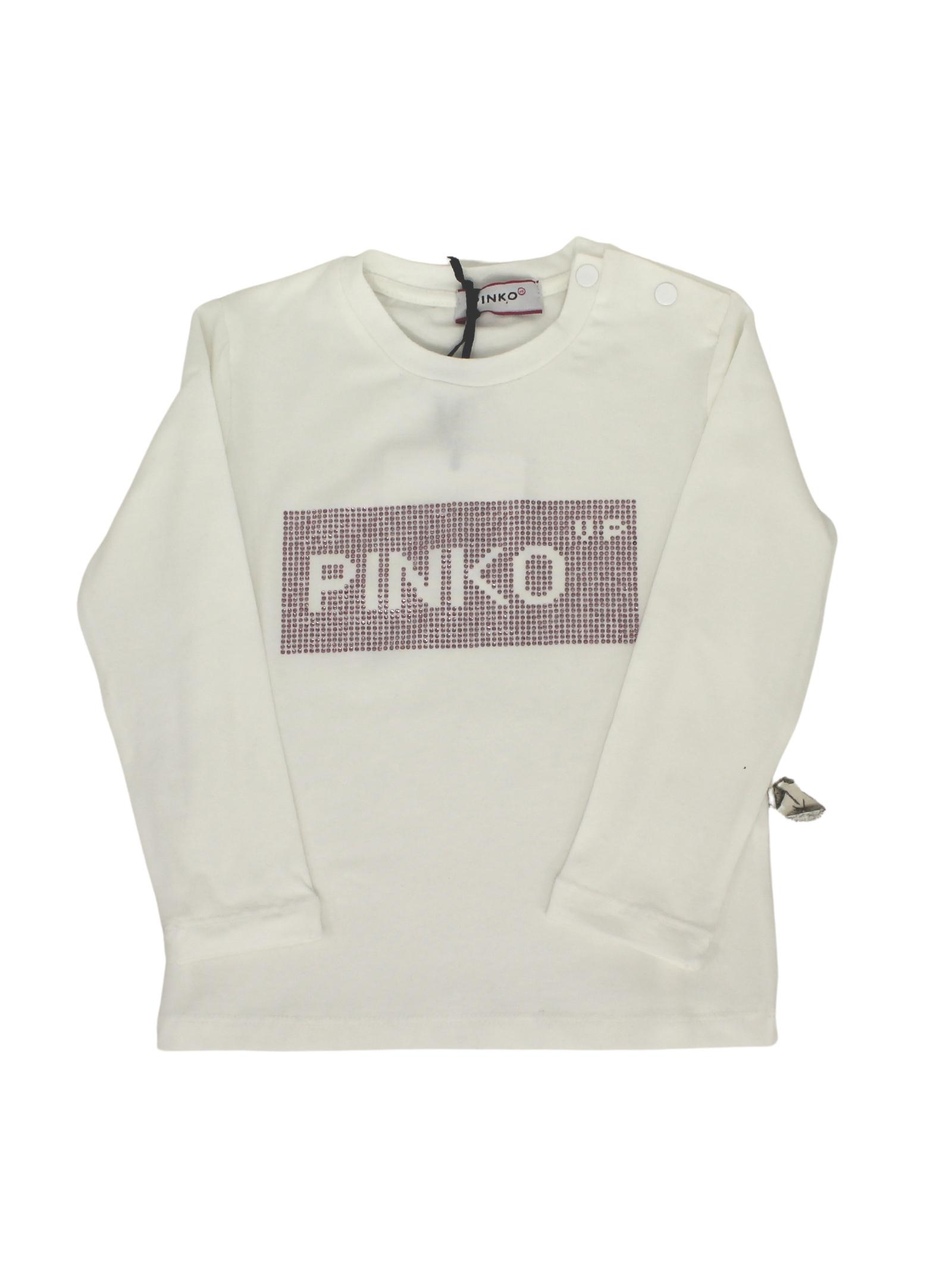 T-shirt White Logo Brillantini Bambina PINKO UP | T-shirt | 028737002.