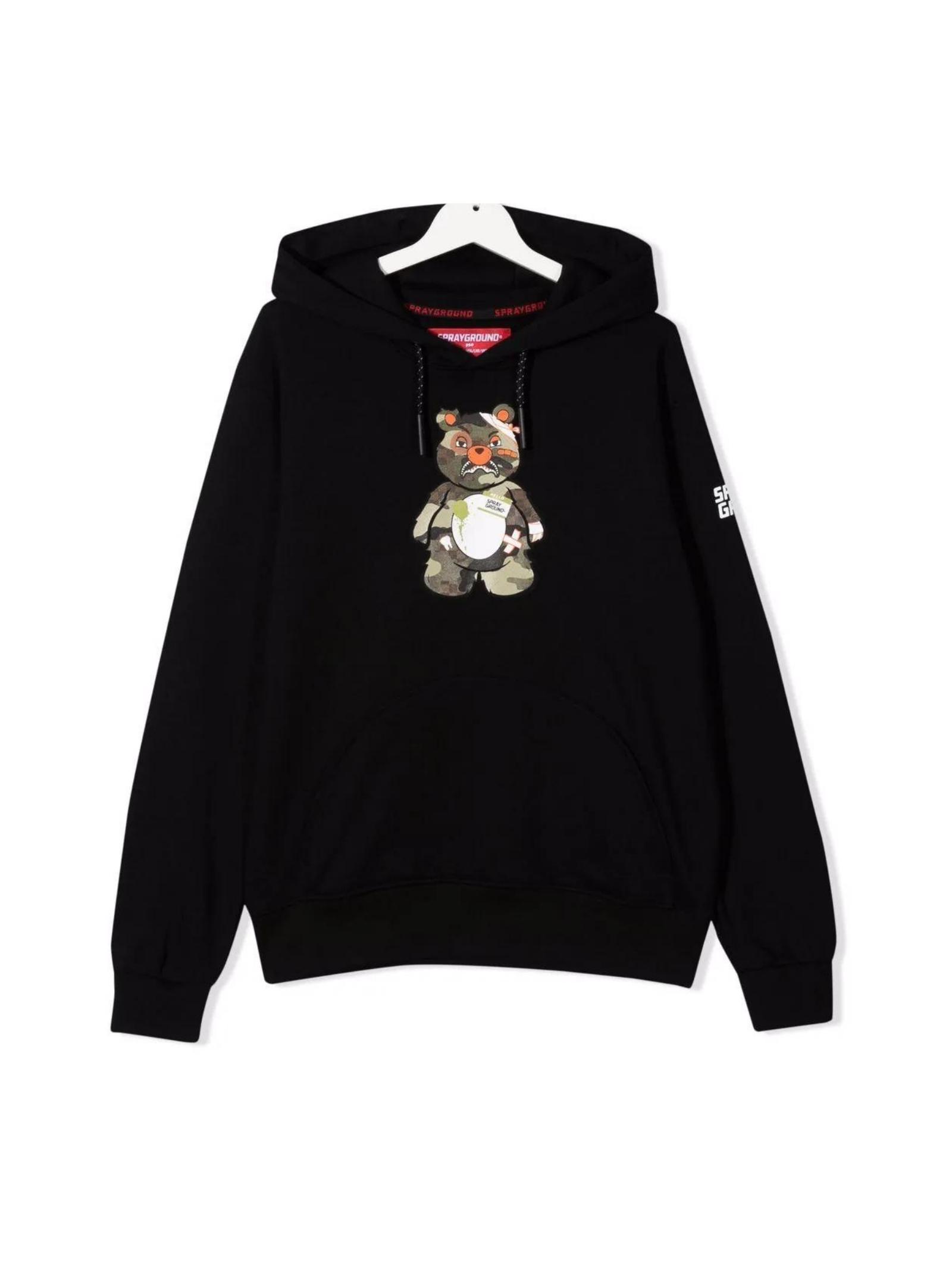 Military Bear Boy Sweatshirt SPRAYGROUND KIDS | Hoodie | SPY237CAMNERO