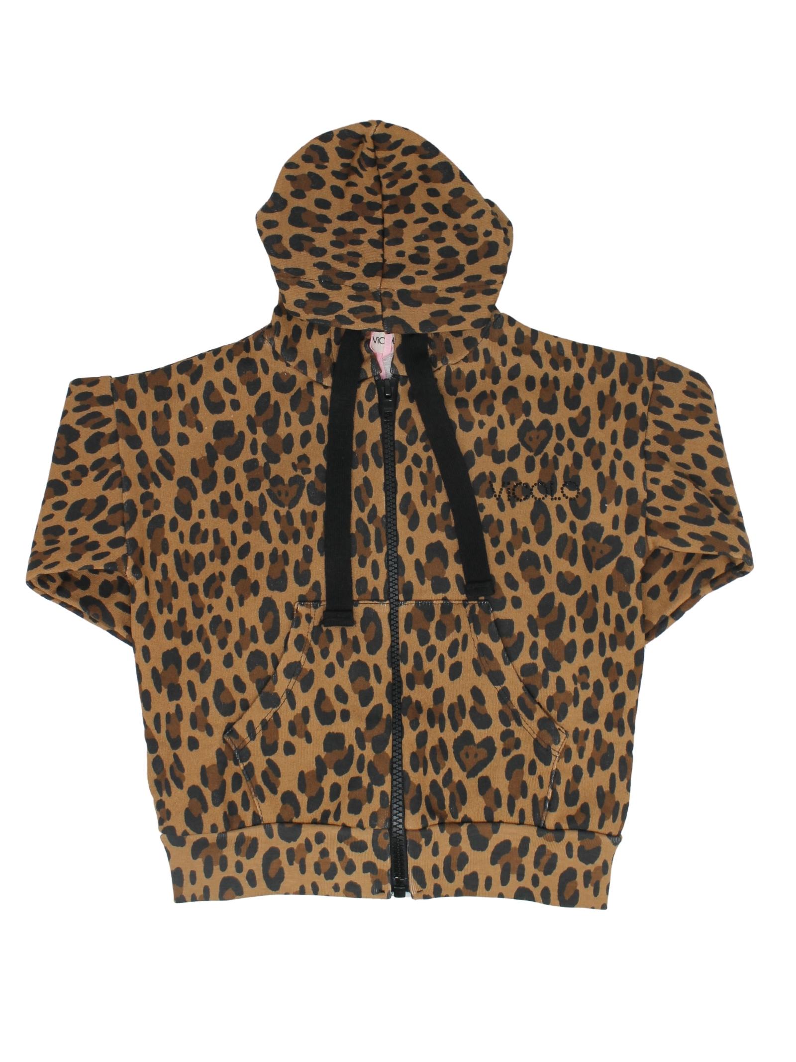 Girl's Leopard Zip Sweatshirt VICOLO KIDS | Hoodie | 3141F0632BEIGE