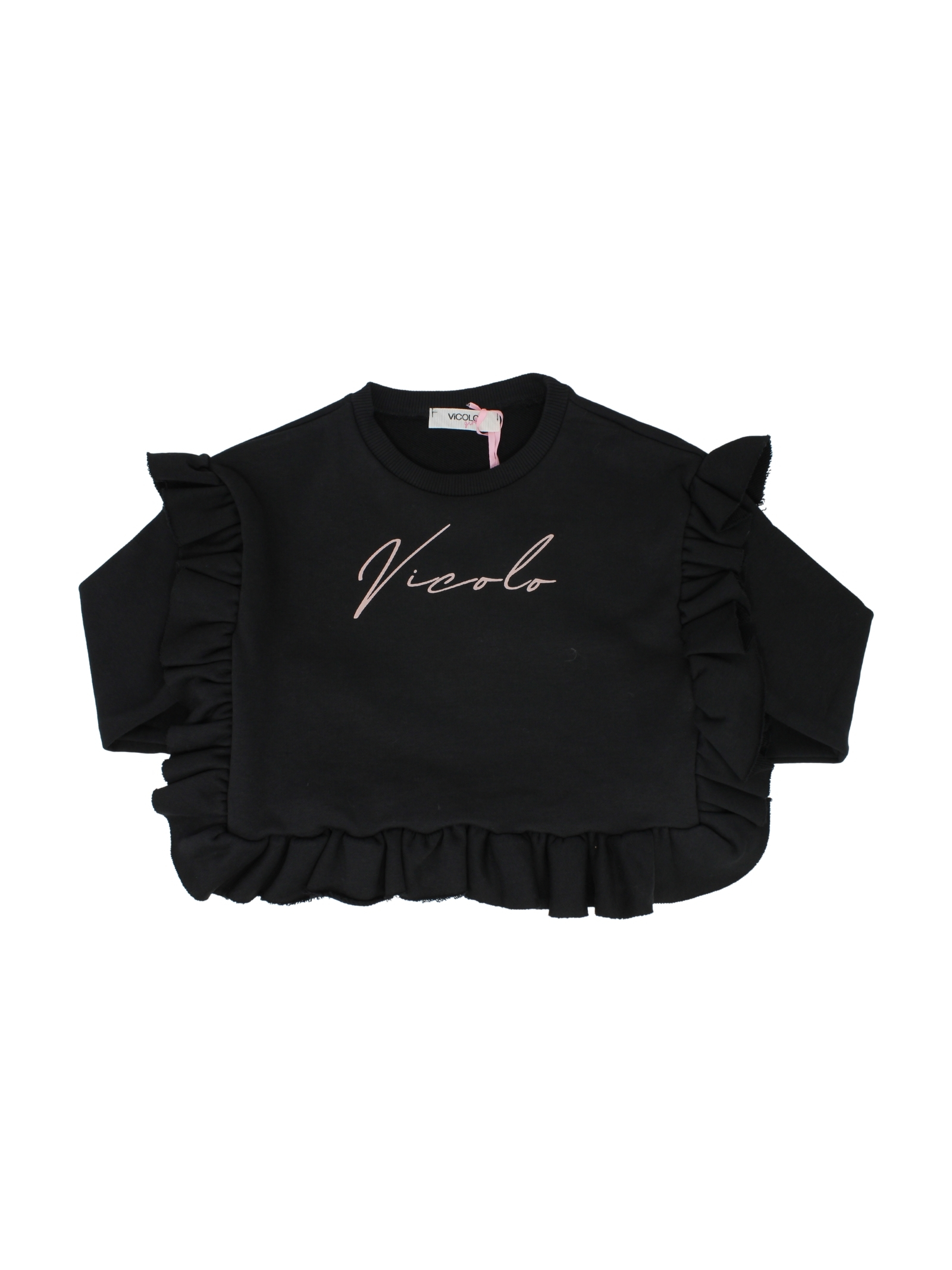 Black Rouche Girl Sweater VICOLO KIDS | Hoodie | 3141F0667NERO