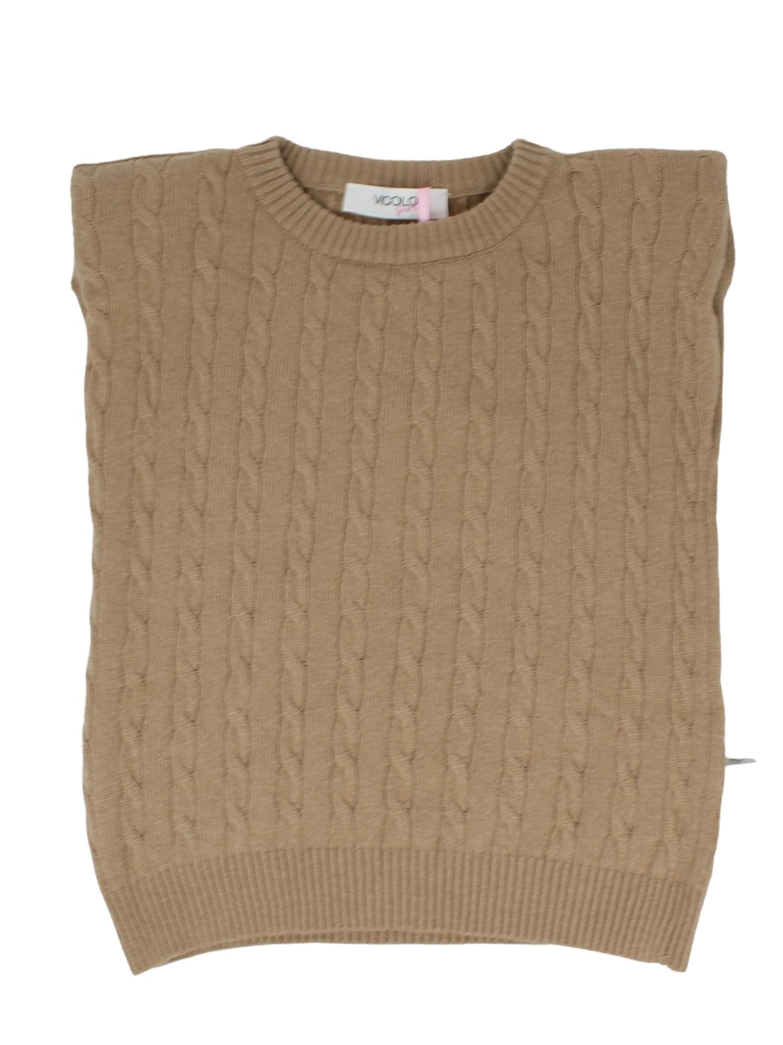 Girl's Intrecciato Sleeveless Sweater VICOLO KIDS |  | 3141W0621CAMMELLO