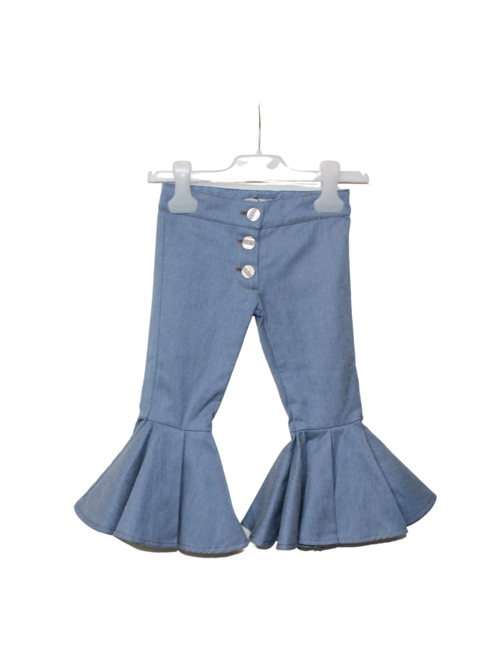 Pantalone Zampa Rouche Bambina GOY AND ZAZA   Pantaloni   C2GBDENIM