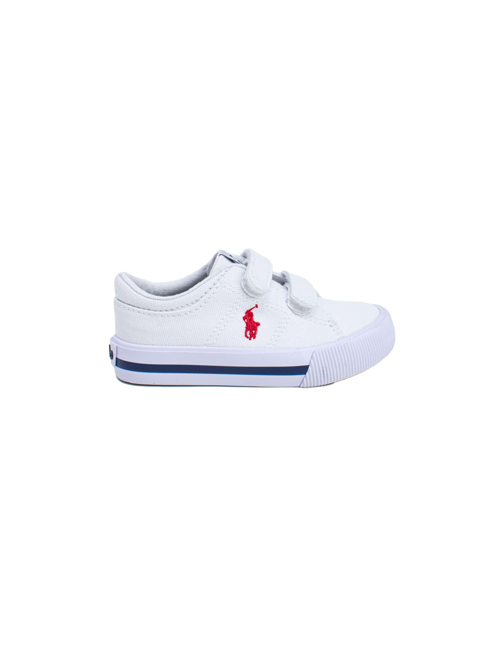 Sneaker Bambino Iconica Tela Bianca POLO RALPH LAUREN JUNIOR | Scarpe | 12RF102952WHITE