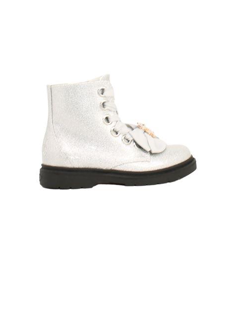 Teddy Glitter Girls combat boots LELLI KELLY | Amphibians | LK4522ARGENTO