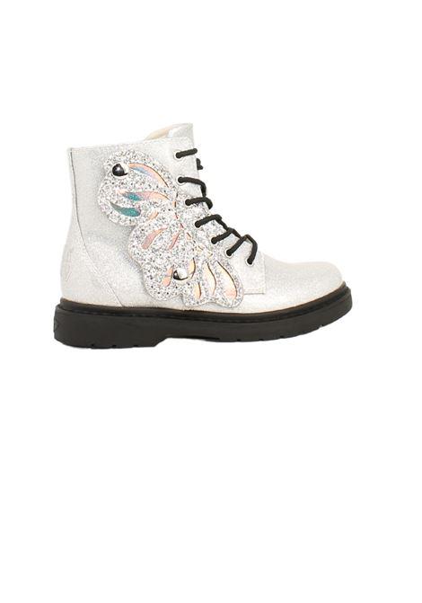 Silver Butterfly Combat Boots for Girls LELLI KELLY | Amphibians | LK5544ARGENTO