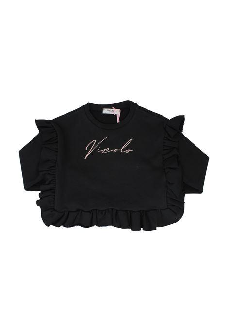 Maglia Black Rouche Bambina VICOLO KIDS | Felpe | 3141F0667NERO