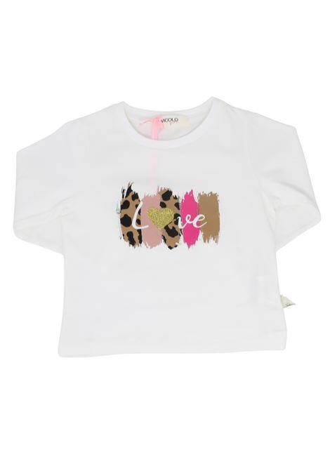 Maglia Stampa Love Bambina VICOLO KIDS | Maglie | 3141M0629PANNA
