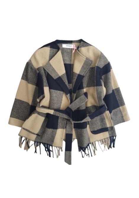 Checked Coat for Girls VICOLO KIDS | Coats | 3141O0603BEIGE/NERO