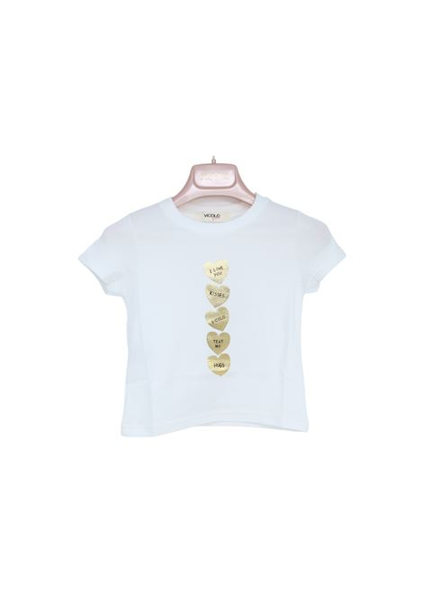 T-Shirt Bambina Cuori Oro VICOLO KIDS | T-shirt | 3146M0488WHITE