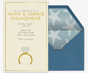 Beach Ring Invitation  Engagement Card Template