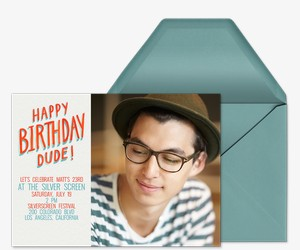 Birthday Dude Photo Invitation