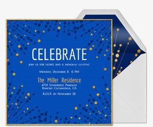 Blue Gold Sparkler Invitation