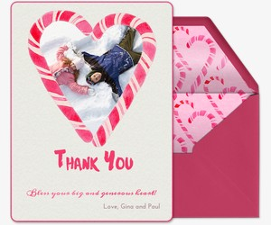 Candy Cane Heart Thanks Invitation