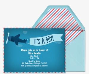 It's a Boy! Airplane Invitation