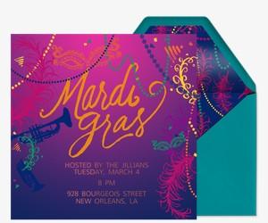 Mardi Gras Free Online Invitations