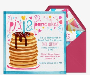 Pjs and Pancakes Invitation