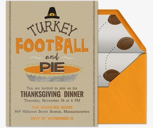 Turkey Football Pie Invitation
