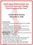 Delta Sigma Theta Sorority, Inc. Cincinnati Alumnae Chapter Ohio Chapter of the Year!